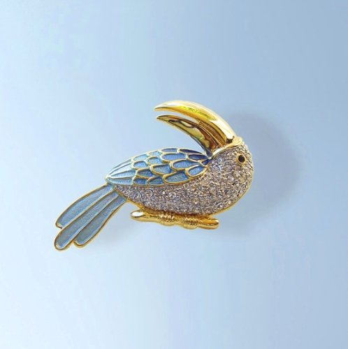 24K Gold Light Blue White Swarovski Crystals Toucan Pin Brooch Jewelry Alfile...