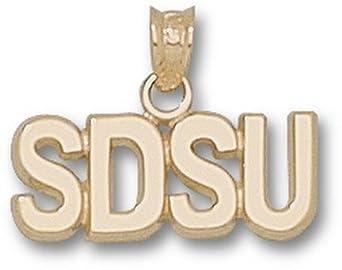 San Diego State Aztecs Block SDSU 1 4 Pendant - 14KT Gold Jewelry by Logo Art