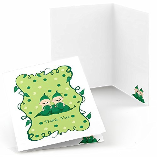 Twins Two Peas in a Pod Caucasian - Party Thank You Cards (8 count)