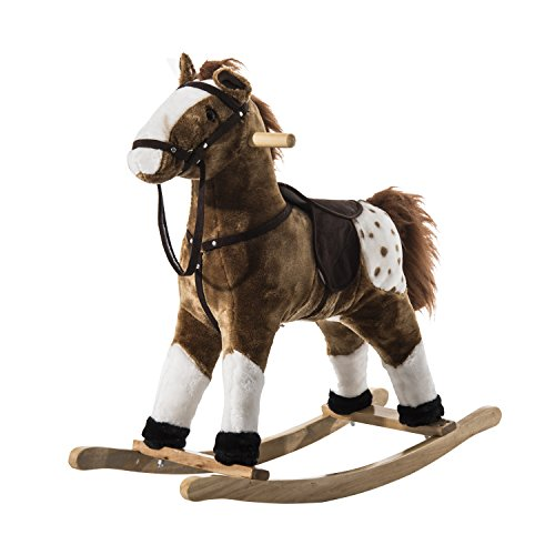 Qaba Kids Plush Rocking Horse Pony w/ Realistic Sounds - Brown