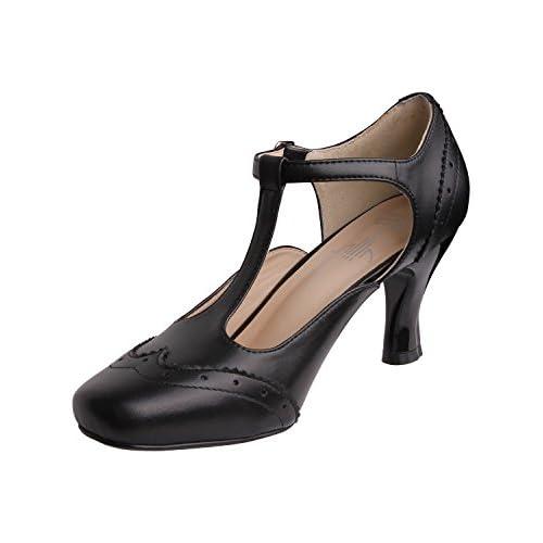 Vijiv Women's Teardrop Cut Out T-Strap Mid Heel Dress Pumps