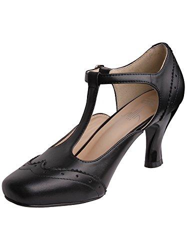 Vijiv Women's Teardrop Cut Out T-Strap Mid Heel Dress Pumps 0