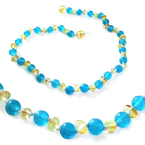 The Art of Cure Baltic Amber Teething Necklace for Baby (Blue Jade/Lemon) - Anti-inflammatory ...