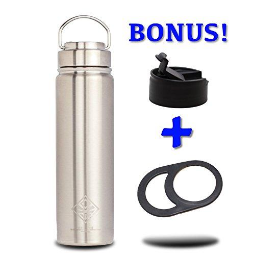 21oz Vacuum Bottle & Stainless Steel Lid -Great for Kids- Wide Mouth Double Wall Insulated Water Jug & Bonus: Flip Lid & Lug Handle (hydro flask compatible) EKOTOLOGY Kilimanjaro 21 oz/0.62 liter