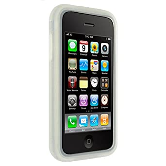 (Clear Wave Design) Soft Rubber Silicone Skin case cover Apple iPhone 3G /3G S + screen protector