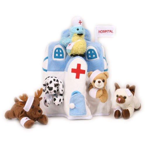plush-animal-hospital-house-with-animals-five-5-stuffed-injured-animals-bear-dalmatian-cat-bird-moos