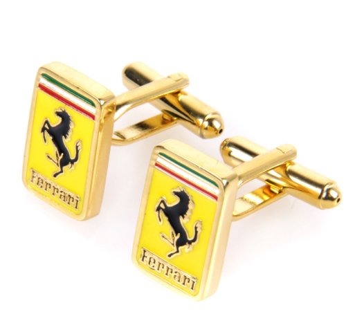Trendy Men's Cufflinks Fashion Cufflinks Yellow Ferrari Logo Design