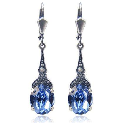 Bilder von Jugendstil Ohrringe - Farbe Silber Light Safir