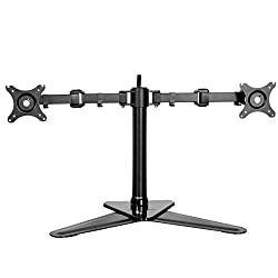 FLEXIMOUNTS DF1T Full Motion Free Standing Triple Monitor arm Desk Mounts Stand Fits 10-27 inch LCD Computer Monitor dual arms