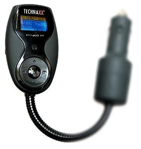Technaxx FMT 300 BT - Transmisor FM función de manos libres (pantalla LCD, Bluetooth, USB, conector de audio para iPod y iPhone), color negro [importado de Alemania]