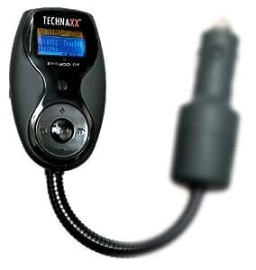 Technaxx FMT 300 BT FM Transmitter und Freisprecheinrichtung (LCD-Display, Bluetooth, USB, Line IN/Out, Audioanschluss auch für iPod und iphone geeignet) schwarz