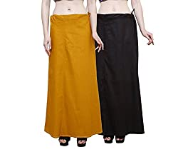 JUST CLIKK WOMENS PETTICOATS COMBO OF 2, COTTON SOLID PLAIN