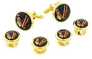 JJ Weston Fun Saucy Sailorette Cufflinks and Shirt Stud Set with Presentation Box. Made in the USA