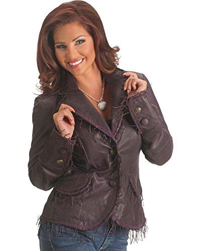 Scully Women's String Fringe Leather Jacket Eggplant XX-Large