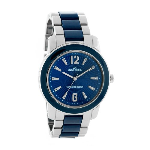 AK Anne Klein Women's 109299BLSV Swarovski Crystals Silver-Tone and Blue Enamel Accented Watch
