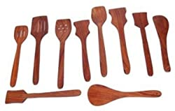 Crafts A to Z Premium Wooden Spoon Set 1 Frying, 2 Serving, 2 Spatula, 3 Chapati Spoon, 2 Desert