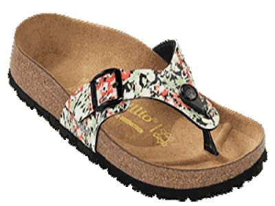 Papillio thong Turin in size 36.0 R EU made of Birko-Flor in Springflower Black with a regular insole