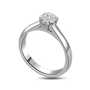 Ladies 0.20ct Solitaire Engagement Ring with a Round Brilliant Cut Diamond colour H & SI1 clarity in 18ct white gold - F