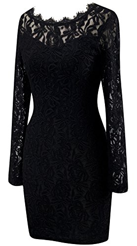 Angel-fashions Womens Transparent Floral Lace Round Neck little Black Dress Large