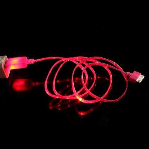 Bluesky Colorful Life Led Usb Sync Visible Color Data Charger Cable For Iphone 4G 4S Ipad 2 3 (Hot Pink)
