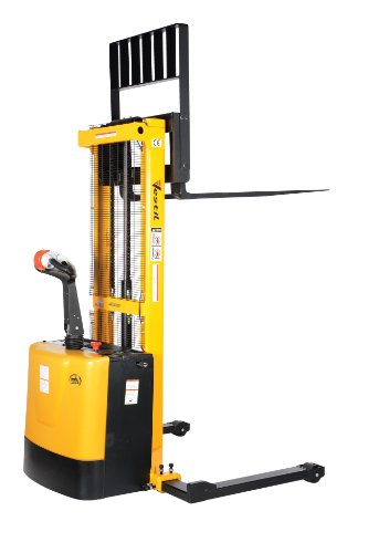 "Vestil S-62-Aa Powered Drive And Powered Lift Stacker With Adjustable Forks And Support Legs, 2"" - 62"" Height Range, 42"" Length X 26-3/4"" Width Fork, 2000 Lbs Capacity"