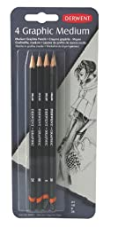 Derwent Graphic Pencils, Medium, Pack, 4 Count (39004)