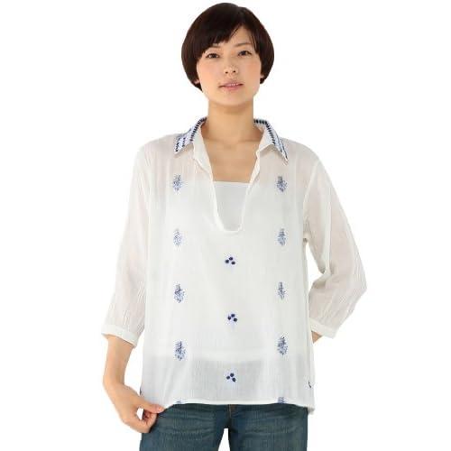(エコマルシェ)ecomarche 衿刺繍入りスキッパーシャツ 846304-4 06 オフ M