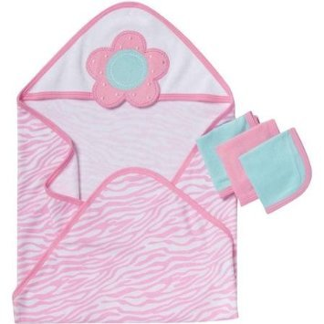 Gerber 4 Piece Hooded Towel and Washcloths Bath Set, Flowers