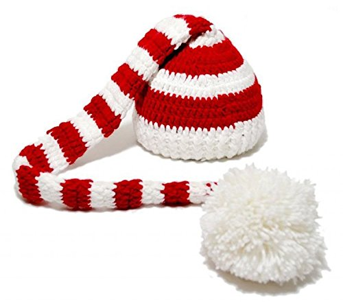 Baby Christmas Crochet ELF Long Tail Pom-pom Photo Prop Hat Party Costume
