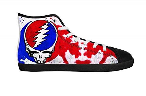 Rock Band Grateful Dead Men's Canvas Shoes Men Black High Top Canvas Shoes-11M US