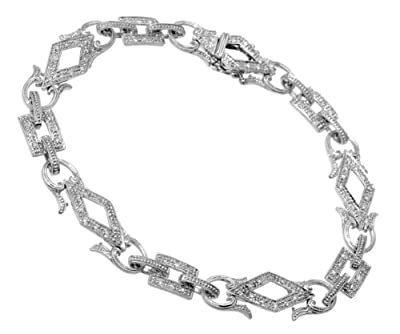Ariel 9ct White Gold 0.45ct Diamond Square And Diamond Shape Link Bracelet