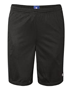 Champion Men's Long Mesh Short With Pockets, Black,LARGE