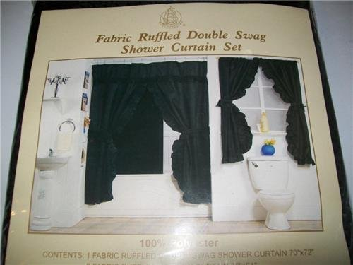 Black Double Swag Fabric Shower Curtain Set With Matching Window