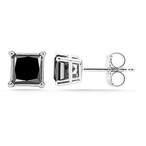 Click to buy Black Diamond Earring Stud: 14K White Gold Princess Cut Black Diamond Stud Earrings from Amazon!