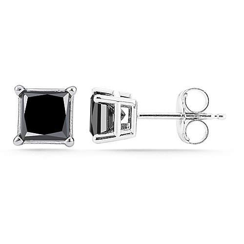 14K White Gold Princess Cut Black Diamond Stud Earrings