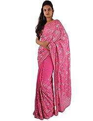 Designer Pink Party Wear Saree Embroidery Thread Sequins Work Sari