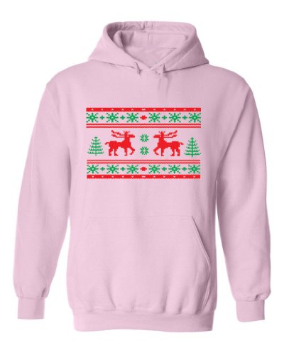 Festive Threads Ugly Christmas Sweater Design (Moose) Adult Hooded Sweatshirt (Pink, 3X-Large)