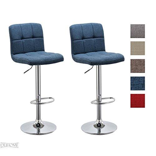 Barhocker-2x-Barstuhl-BLAU-aus-Stoff-LEINEN-Drehstuhl-Tresenhocker-Typ-9-451Y-Bar-Sessel-gut-gepolstert-Bodenschoner-mit-verchromten-Griff-hhenverstellbar-gut-gepolstert-mit-Lehne