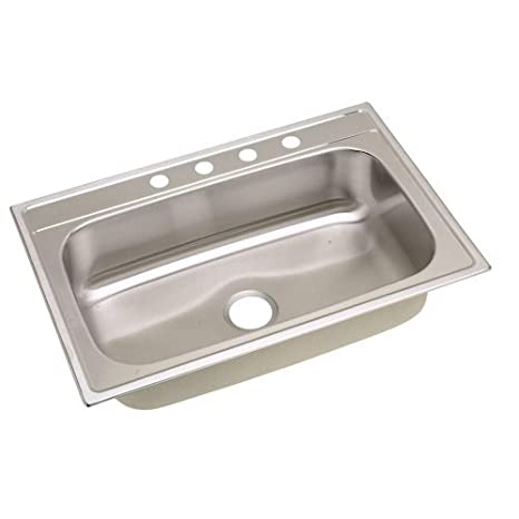Elkay Signature Top Mount 33 in. x 22 in. x 8in. Single Bowl Kitchen Sink 20-gauge stainless steel