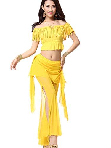 Dancewear Danza del ventre Custome Off Shoulder Tassel Top & Crystal Cotton Pantaloni yellow