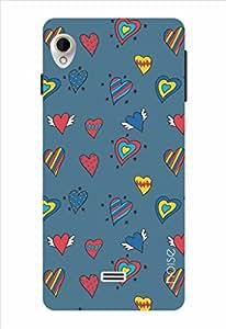 Noise Blue Hearts Printed Cover for Intex Aqua Slice 2