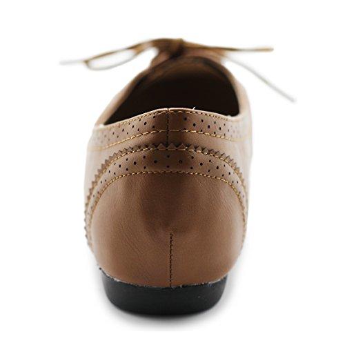 Ollio Women's Ballet Shoe Flat Enamel Pointed Toe Oxford (9.5 B(M) US, Brown)
