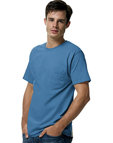 Hanes 5590 Tagless Pocket T-Shirt Size Large, Denim Blue