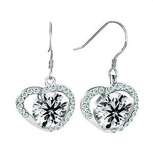 Pugster Apr Birthstone Clear White Crystal Heart Dangle Earrings