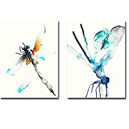 Blue and Brown Dragonfly & Blue and Green Dragonfly by Karin Johannesson 2-pc Premium Oversize Gallery-Wrapped Canvas Giclee Art Set (Ready to Hang)
