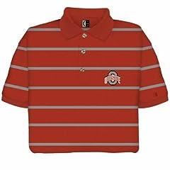 Ohio State Buckeyes Striped Polo Shirt by Chiliwear LLC