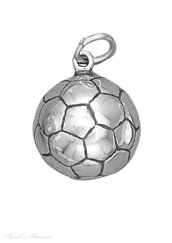 """Sterling Silver 18"""" 1.5Mm Wide Box Chain Boys Necklace With Soccer Ball Sports Pendant"""