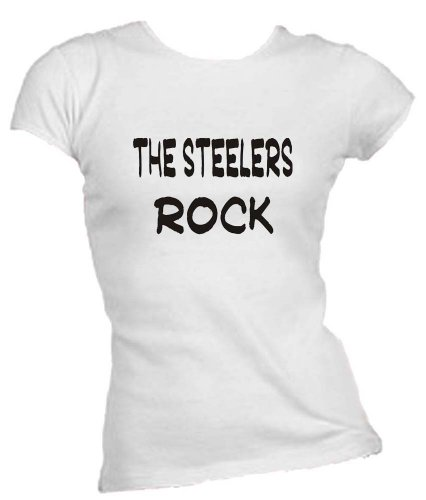 The Steelers Rock Ladies/Juniors FITTED Crew-Neck T-Shirt WHITE LARGE