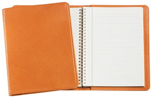 Graphic Image Wire-O-Notebook, Goatskin Leather, 9-Inches, Orange (JS9MRBLGTIORG)