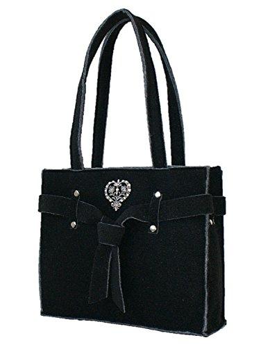 Trachtentasche-Filz-Tasche-Filztasche-Shoppertasche-Handtasche-gro-schwarz-neu